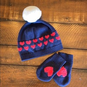 Navy & Red hearts hat and glove set
